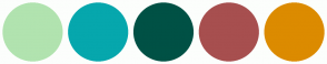 Color Scheme with #B1E3AF #06A7AD #005145 #A74F4F #DC8B00