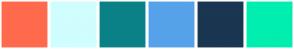 Color Scheme with #FF6A4D #D0FDFD #0A8187 #56A2EA #1A3651 #00EEAF