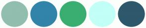 Color Scheme with #91BEAE #3284A9 #3AAE71 #C1FFF7 #2E586B