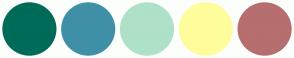 Color Scheme with #006B59 #3F90A6 #AEE1C7 #FFFC9B #B66E6E