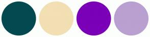 Color Scheme with #054950 #F2DFB3 #7B00B7 #B9A0D1