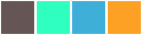 Color Scheme with #665555 #2FFFBF #3EAFD8 #FDA125
