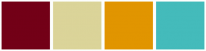 Color Scheme with #730017 #DBD499 #E19500 #44BBBB