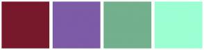 Color Scheme with #77192B #7D5BA7 #73B08D #9CFFD3