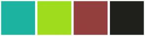 Color Scheme with #1CB4A0 #9FDD1D #943F3F #1F201C