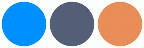 Color Scheme with #008FFF #535F77 #E88E58