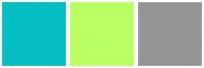 Color Scheme with #05BEC4 #BAFF65 #959595