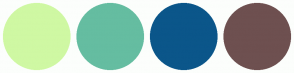 Color Scheme with #CFF8A3 #65BDA1 #0B568A #6E5050