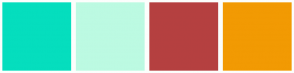 Color Scheme with #05DEBE #BCFAE2 #B54040 #F29A03