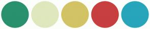 Color Scheme with #29916D #DFE7BD #D2C364 #C73F3F #27A5BB