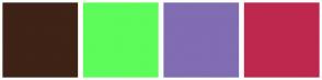 Color Scheme with #3E2316 #5DFC5A #806DB2 #BE284F