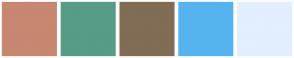 Color Scheme with #C78771 #579B89 #816C55 #0E9FFA #E3EEFF