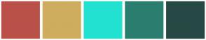 Color Scheme with #BA5149 #CEAD5E #23E1D0 #2A7E6F #274945