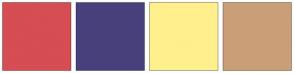 Color Scheme with #D64D53 #48407C #FFF08D #CA9F78