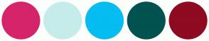 Color Scheme with #D6246B #C6ECEA #06BCF1 #015250 #8E0B21