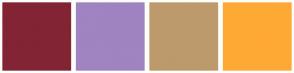 Color Scheme with #822433 #A083C1 #BD9A6B #FFA935