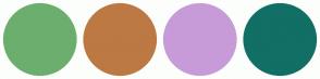 Color Scheme with #6CAE6E #BD7943 #C79BD8 #116F66