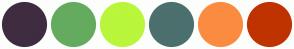 Color Scheme with #3F2C40 #64AB5F #B9F63C #4B706E #FB8B41 #BF3300