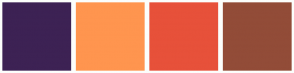 Color Scheme with #3D2254 #FF954F #E7513A #924C38