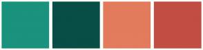 Color Scheme with #1A927D #094D47 #E37B5D #C14E43