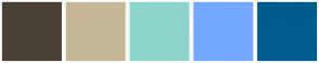 Color Scheme with #4A4237 #C6B897 #8DD4CB #74A8FF #005C8D
