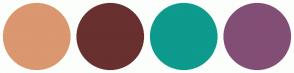 Color Scheme with #DB976F #693030 #0E9A8D #834E76