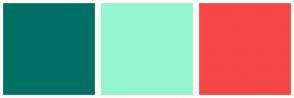 Color Scheme with #007065 #96F5D0 #F64646