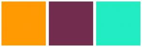 Color Scheme with #FF9A03 #712D4D #22ECC2