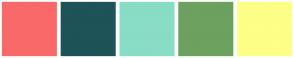 Color Scheme with #FA6969 #1E5358 #87DDC6 #6CA15F #FDFF87