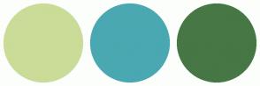 Color Scheme with #CADC98 #49A8B1 #467745
