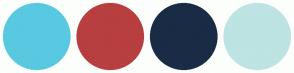 Color Scheme with #58C9E1 #B83F3F #1A2B45 #BDE3E3