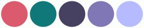 Color Scheme with #DB5A6E #107878 #474161 #8077B6 #B6BBFF