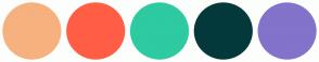 Color Scheme with #F6B17F #FF5E45 #2ECAA1 #04393C #8373CA