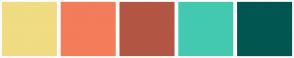 Color Scheme with #F0DC82 #F47C5A #B25643 #44C9B1 #015652