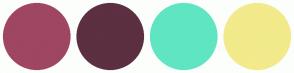 Color Scheme with #9F4662 #5C2F41 #60E5C2 #F2EA8B