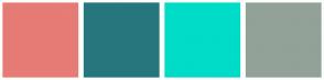 Color Scheme with #E77B75 #26777D #00DCC8 #92A298