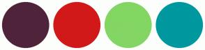 Color Scheme with #4F243B #D21919 #83D663 #00989F