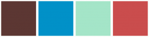Color Scheme with #5C3733 #0191C8 #A4E5C8 #CA4D4D