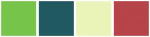 Color Scheme with #76C54A #215961 #EBF4B9 #B64449