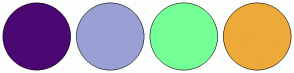 Color Scheme with #4B0772 #99A0D4 #75FF97 #EEAA38
