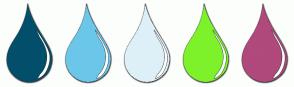Color Scheme with #034F6B #6BC7EA #DEF0F7 #7DF22B #B0497C