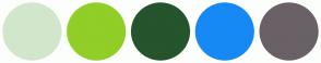 Color Scheme with #D2E6CB #91CE27 #25542D #1789F4 #696166