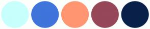 Color Scheme with #C7FFFC #3F74DB #FF9671 #964758 #092149