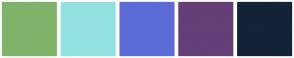Color Scheme with #7FB369 #92E1E1 #5D6BD6 #643E76 #132338