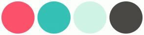 Color Scheme with #FC516B #35C1B5 #D0F4E5 #494845