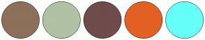 Color Scheme with #8D7059 #B0C1A4 #704B4B #E36025 #65FFF8