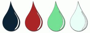 Color Scheme with #0C2536 #AB2626 #74E194 #E9FFF8