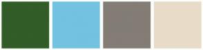 Color Scheme with #325C28 #73C2E1 #837D75 #E8DCC8