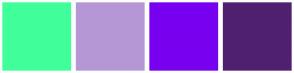 Color Scheme with #40FF9A #B697D6 #7800F0 #4F2070
