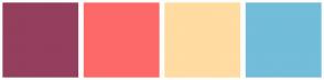 Color Scheme with #943F5D #FD6969 #FFDCA1 #72BDD9